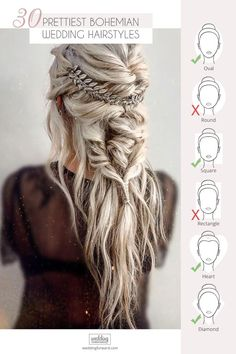 30 Prettiest Bohemian Wedding Hairstyles ❤️ Already have a boho wedding dress but still dont know what to do with your hair? Look through our gallery of bohemian wedding hairstyles. wedding makeup 42 Amazing Boho Wedding Hairstyles For Tender Bride Boho Wedding Hair, Wedding Hair And Makeup, Boho Bridesmaid Hair, Braided Wedding Hair, Boho Wedding Dress Bohemian, Wedding Music, Viking Hair, Wedding Guest Hairstyles, Hairstyle Wedding