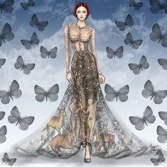 Valentino Spring 2014 Couture #Valentino #fashion #illustration #fashionillustration #artwork #art #artist #creative #style #dress #colorful #masterpiece #love #butterflies #girl #model #shamekhbluwi #Gown #Couture #HauteCouture #2014 #paris