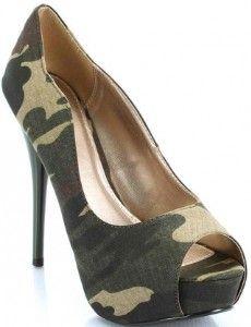 Camo open toe heels
