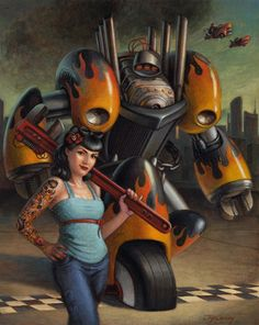 Robobilly by Jeff Crosby Fantasy Illustration, Sci Fi Art, Rockabilly, Deadpool, Concept Art, Superhero, Fictional Characters, Book, Cover