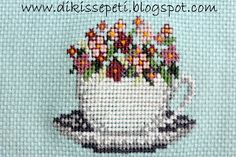 teacup blooms (picture only) 123 Cross Stitch, Stitch 2, Cross Stitch Patterns, Felt Snowman, Doily Patterns, Crewel Embroidery, Cross Stitching, Doilies, Needlepoint