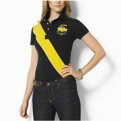 d088a059ab3 Ralph Lauren Polo Womens Big Pony Yellow Black Lacoste Outlet