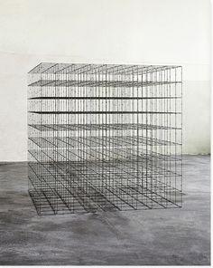 MONA HATOUM, CUBE (9 x 9 x 9) 2008: barbed wire box.