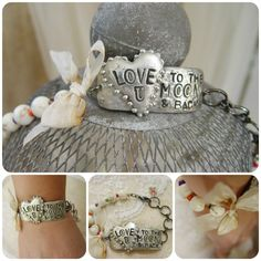 Love U To The Moon & Back-Molten solder, Love you to the moon and back, hand stamped, cuff, howlite bead, bracelet