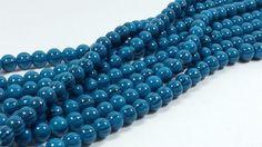 Lot of 2 Blue Swirled Glass Beads 14 inch strands
