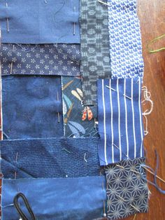the groundwork for boro/sashiko stitching Japanese Patchwork, Japanese Textiles, Patchwork Bags, Sashiko Embroidery, Japanese Embroidery, Embroidery Stitches, Hand Embroidery, Embroidery Designs, Fabric Bags