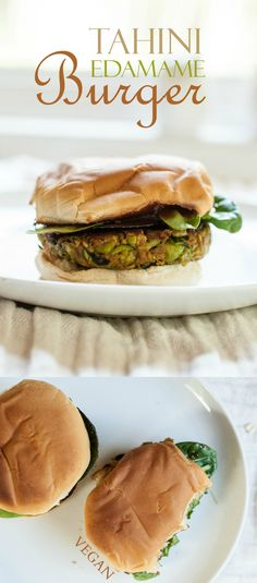 Produce On Parade - Tahini Edamame Burger - This is a flavorful veggie burger with fresh edamame and greens, rolled oats, tender sweet potato, and creamy tahini for a unique dish. I love to freeze the leftovers for a quick and effortless meal. #vegan #veggieburger #vegetarian