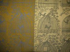 "Fabric - Rare - Viola Gråsten - Mölnlycke - ""Fågelkvitter"" - Birds - Swedish Design - 50/60s"