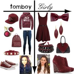 "#earrings ""Tomboy vs. Girly: Maroon"" by mustachiopistachio on Polyvore"