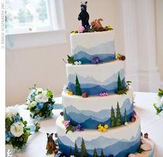 I think this would be hard without fondant though :( Cupcakes, Cupcake Cakes, Cupcake Ideas, Dessert Ideas, Beautiful Cakes, Amazing Cakes, Nature Cake, Mountain Cake, Woodland Cake