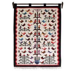 Wool tapestry, 'Hummingbird'  - Fair Trade Peruvian Animal Themed Tapestry Wall Hanging