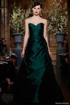romona keveza fall 2013 collection emerald draped silk shantung taffeta gown draped a line silhouette sweetheart neckline style e1365