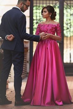A-line Off the Shoulder Long Sleeves Sweep Train Fuchsia Prom Dress with Appliques