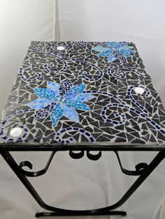 Marvelous Furniture For Outdoor Living Space With Mosaic Outdoor Table: Good Looking Furniture For Outdoor Living Room Design And Decoration Using Square Black Ceramic Blue Flower Mosaic Outdoor Table ~ famousgoods.net Furniture Inspiration
