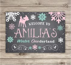 A personal favorite from my Etsy shop https://www.etsy.com/ca/listing/257772439/welcome-sign-winter-onederland-snowflake