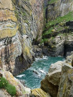Ancient Cliffs by langleyo - Millions of years of movement, stress and erosion have exposed the various rock types of the cliffs at South Stack, Anglesey, North Wales.