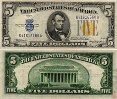 US 5 Dollar Federal Reserve Note Series of 1934 New York Serial# Signatures: Julian / Morgenthau Lincoln Memorial Portrait: Abraham Lincoln 5 Dollar Bill, Dollar Usa, Dollar Money, 1st National Bank, Federal Reserve Note, American Dollar, American Coins, American History, Money Notes