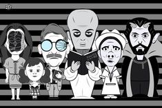 🌀 Here's some of my Twilight Zone characters I've drawn. There's a few missing but I'll save em for the next group photo. Twilight Zone Episodes, All Art, Original Artwork, Darth Vader, Draw, The Originals, Prints, Movies, Fictional Characters