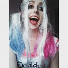 Hey Puddin' 💋 #harleyquinn #makeup #harleyquinnmakeup #heypuddin #wig #whitehair #characterization #bluehair #pinkhair #suicidesquad #harley #quinn #cosplay #harleyquinncosplay #cosplayart #art #harleyquinncostume #costumeparty  #dressupparty #daddyslittlemonster
