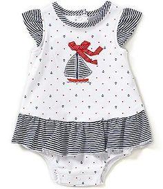 Little Me Baby Girls 3-12 Months Sailboat-Motif Nautical-Print Skirted Bodysuit