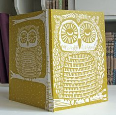 Owl linocut journal, recycled. $19.00, via Etsy. Shop: InkyprintsOriginals - Fiona Humphrey