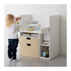 STUVA Desk with 2 drawers - white/birch - IKEA
