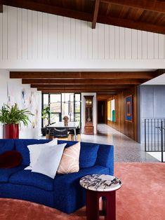 Sandy Bay Residence by Flack Studio - Tasmania, Australia - Video Feature - The Local Project Pierre Jeanneret, Le Corbusier, Sofa Design, Furniture Design, Flack Studio, Art Deco Home, New Living Room, Electric Blue, Decoration