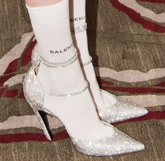 Amazing Outfits : silver glitter pointed toe heels with balenciaga socks Pointed Toe Heels, Stiletto Heels, High Heels, Mode Shoes, Vogue, Elegantes Outfit, Glitz And Glam, Mode Vintage, Vintage Shoes