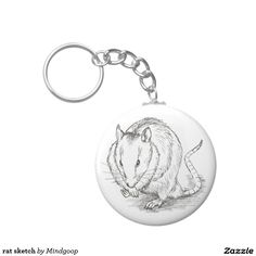 rat sketch key chain