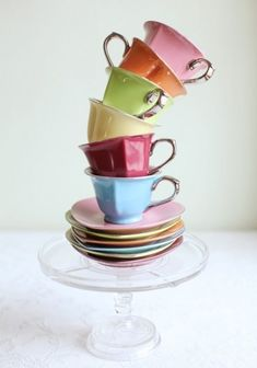 cute heart-shaped tea cups & saucers by marcia