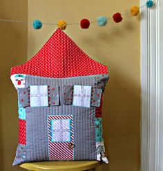 Quilted House Pillow by maureencracknell, or maybe a crib quilt? barn for a boy?