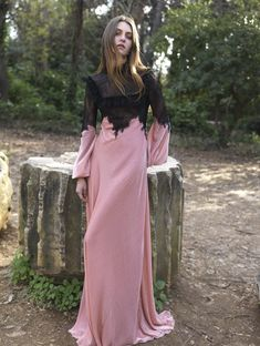 Shop Velvet And Chantilly Lace Gown. This **Costarellos** Velvet and Chantilly Lace Gown features a sheath silhouette with a ruffled mock neck. Fashion Now, Fashion Outfits, Chantilly Lace, Evening Dresses, Ready To Wear, Couture, Fall 2018, Illusion, Clothes