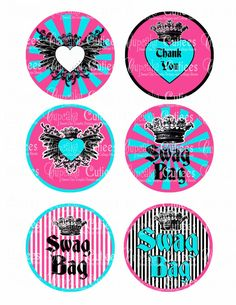 Hey, I found this really awesome Etsy listing at https://www.etsy.com/listing/120802806/rock-star-blue-pink-swag-bag-tags