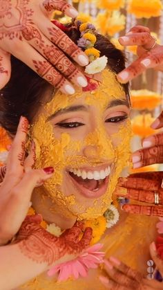 This Indian bride's maiyan (haldi) ceremony was very pretty with all the yellow turmeric paste being applied to her face. The yellow paste was a perfect texture and consistency, which important to have a video like this. Mehendi Photography, Indian Wedding Couple Photography, Bride Photography, Photography Ideas, Indian Photography, Indian Wedding Video, Indian Wedding Photos, Indian Weddings, Wedding Couple Photos