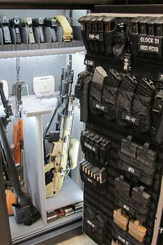 guns ammo The Wilde Custom Gear Tactical Nylon MOLLE Gun Safe Door Organizer is the best and simplest product to increase your gun safe storage capacity. The MOLLE Gun Safe Door Panel Organi Weapon Storage, Gun Storage, Safe Storage, Storage Room, Weapons Guns, Guns And Ammo, Zombie Weapons, Zombie Apocalypse, Moderne Lofts