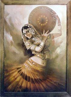 India Dance Paintings, Indian Art Paintings, Rajasthani Painting, Composition Art, Indian Folk Art, Art Corner, Dance Art, Fabric Painting, Portrait Art