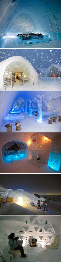Lapland - Ice hotel (a thousand & one nights ambience! Ice Hotel Norway, Amazing Places, Beautiful Places, Hotel 6, Davos, Winter Holidays, Quebec, Rustic Furniture, Best Hotels
