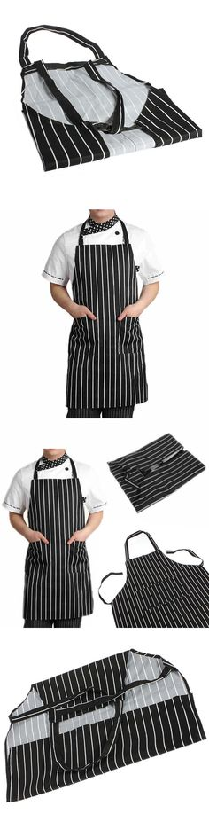 Durable Adult Black Stripe Bib Apron with 2 Pockets Waiter Kitchen Resturant Necessary Home Essential