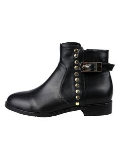 Boots I Love! Black and Silver Beaded Buckle Strap Ankle Boots |