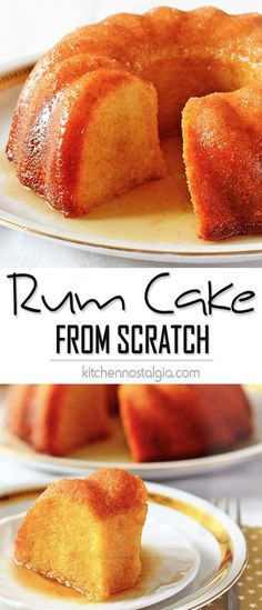 Rum Cake from Scratch is dense, rich and soaked with flavorful thick butter rum sauce. Great for every party!