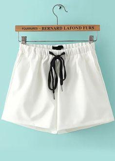 Drawstring Slim White Shorts