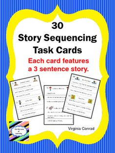 Need+some+extra+activities+for+sequencing?+Here's+a+great+product+for+you!+There+are+30+stories+with+three+sentences+each.+Just+copy+and+laminate.++++Make+copies+of+the+student+answer+sheets+and+your+center+is+ready+to+go.++Complete+directions+are+in+the+packet.Be+sure+to+browse+through+my+store+to+see+what+other+items+I+have+available+to+help+meet+the+curriculum+needs+of+your+students.Just+follow+me+to+receive+notification+of+new+learning+materials+I+am+creating+for+your+classroom+and+mine.