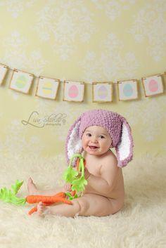 3 to 6m Bunny Hat Baby Beanie - Baby Girl Crochet Baby Hat Baby Bunny Ears Plum White Flopsy Rabbit Hat Infant Photo Prop. $24.00, via Etsy.