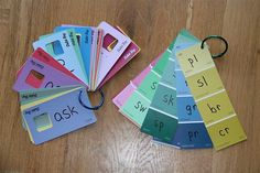 Paint chip word families for the classroom! I would probably make sight word rings with these as well!
