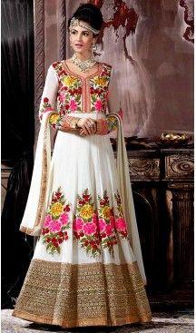 White Color Georgette Designer Anarkali Lehenga Kameez | FH492875598 #heenastyle , #boutique , #pakistani, #salwar , #kameez , #suit , #dresses , #styles , #fashion , #clothing , #henna , #designs , #mehndi , #more , @heenastyle