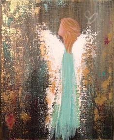 8x10 Original Acrylic Angel Painting on by CrysSutherlandDesign