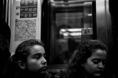 Two kids in the parisian metro