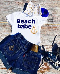 Beach Babe Onesie, Baby girl Onesie, Nautical Onesie, Beach Infant Clothing, Summer Baby Outfit, Distressed Shorts