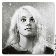 "Купить ""Луна Лавгуд"" - чёрно-белый, луна, лавгуд, полумна, Гарри Поттер, волшебство, магия"