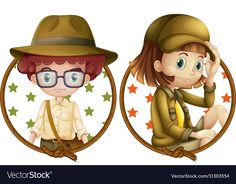 Boy and girl on round badges Royalty Free Vector Image Children Holding Hands, Bubble Boy, Paper Child, Kids Reading Books, Kids Labels, Indian Boy, Four Kids, Japanese Boy, Building For Kids